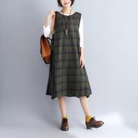 2018 Lente Herfst Nieuwe Vrouwen Wollen Jurk Japan Mode Losse Groene Plaid Mouwloos Lange Tank Jurk Mori Meisje Vestidos Robe