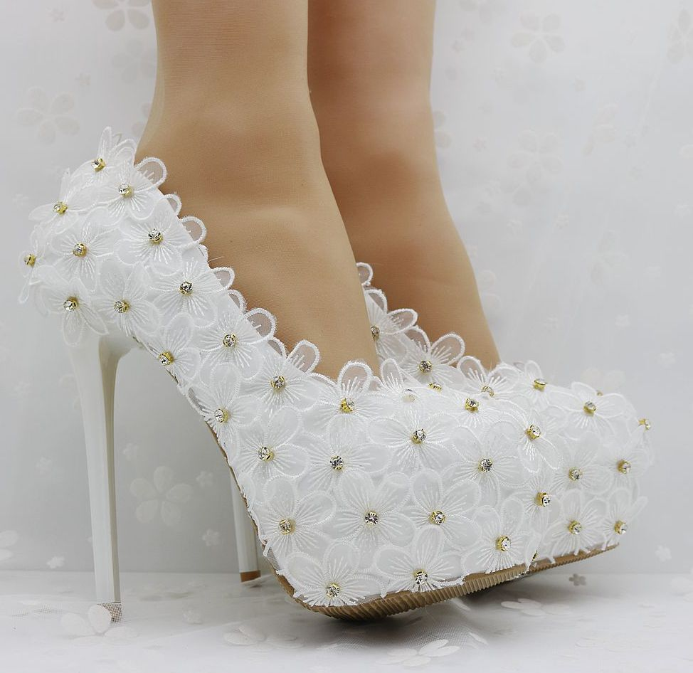 ФОТО 14CM heeld super high heels platforms white lace flowers wedding PARTY SHOES FOR WOMAN hand made elegant TG599 bridal shoe