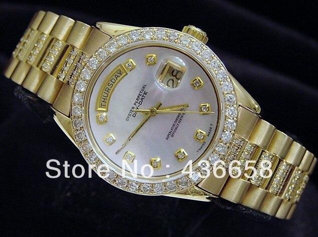 Luxury Mens Mechanical Day Date 2 Diamond Bracelet Watch Men Gold