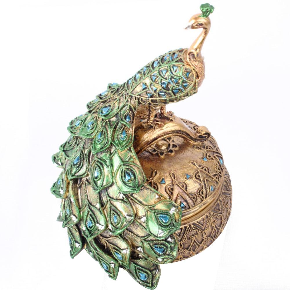 Accessoires de décoration de la maison élégant résine artisanat paon boîte à bijoux décorations pour la maison décoration animale