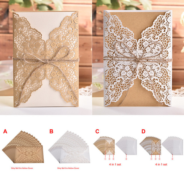 10pcs/lot Flower Hollow Laser Cut Wedding Invitations Elegant Engagement Wedding Invitation Card With Rope Free Envelope Seals