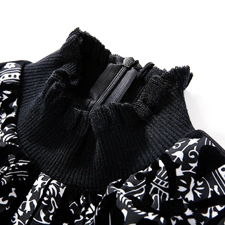 Un De Printemps Agent Cultiver Robe 2018 Noir Sincèrement Sa Manches Impression Sort À Longues Corne S'engage Ceinture La Nouvelle Moralité 6q1dqfw
