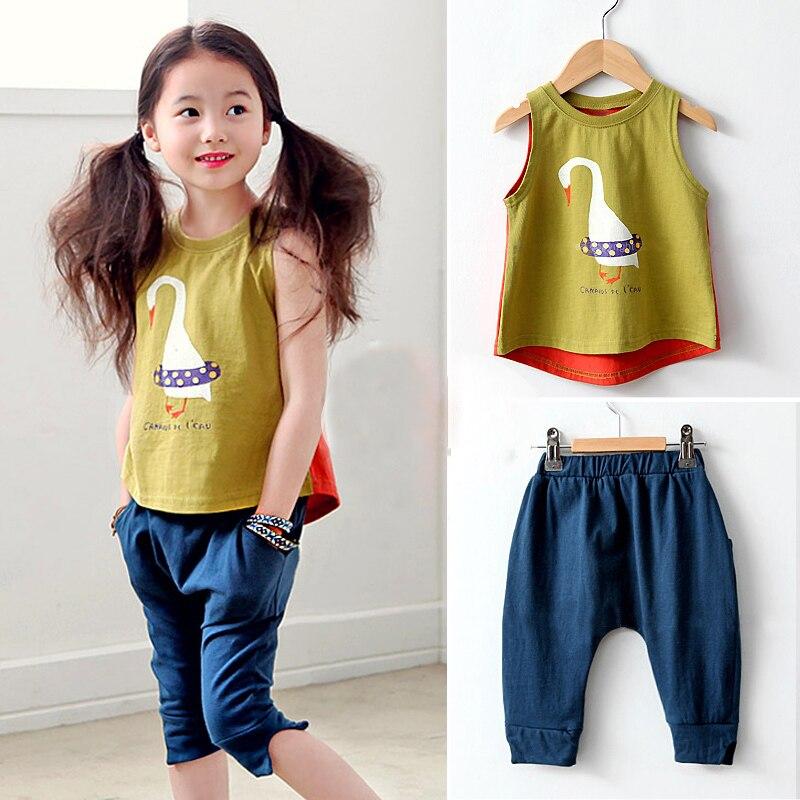 Children's clothing summer set girls child sleeveless T-shirt vest +knee-length pants kids cotton twinset baby girls casual suit