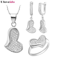 Uloveido Fashion Wedding Jewelry Sets Cubic Zirconia Silver Plated Romantic Love Heart Micro Pave Women's Jewelry Gifts T096