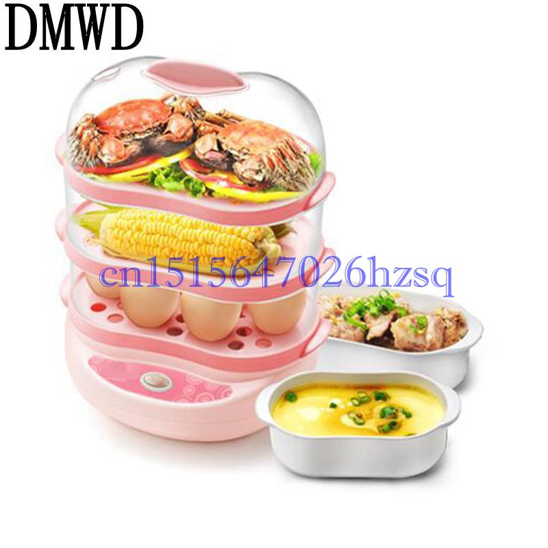 DMWD 220V 300W Multifunctional Household Three layers egg cooker for up to 18 eggs Boiler Steamer Kitchen cooking tool multi function stainless steel electric egg cooker boiler steamer 14 eggs egg cooker steamer shipping faster