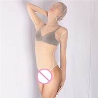 (MS010) Women sexy high elastic lycra grenadine half perspective catsuit flesh female fetish zentai tights