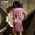 XIFENNI Juegos Bata de Seda Femenina Albornoces de Manga Larga Bordado Camisones de Seda de Imitación de Dos Piezas de Encaje Camisón 6623