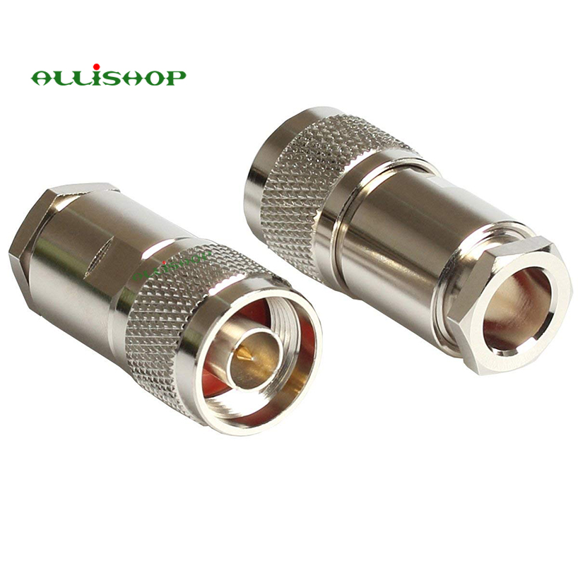 5Pcs N Male Plug RF Coaxial Connector Clamp RG8 LMR400 RG213 RG165 RG393 Cable Nickel Machined Brass Construction areyourshop 10pcs n clamp plug male rf coaxial connector cable for lmr400 rg8 rg213 converter mini
