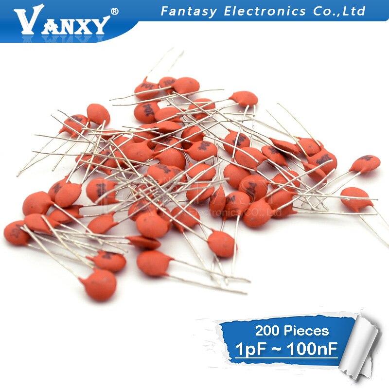 20-1000pcs 1PF-100NF Ceramic Disc Capacitors 50V Common Values