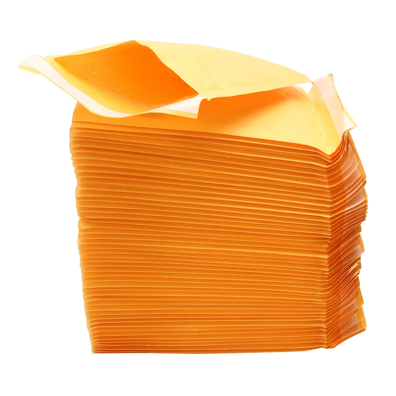 HOT-50Pcs Top Quality Yellow Kraft <font><b>Bubble</b></font> <font><b>Mailers</b></font> <font><b>Padded</b></font> <font><b>Envelopes</b></font> Shipping Bag Self Seal Business School Office Supplies image