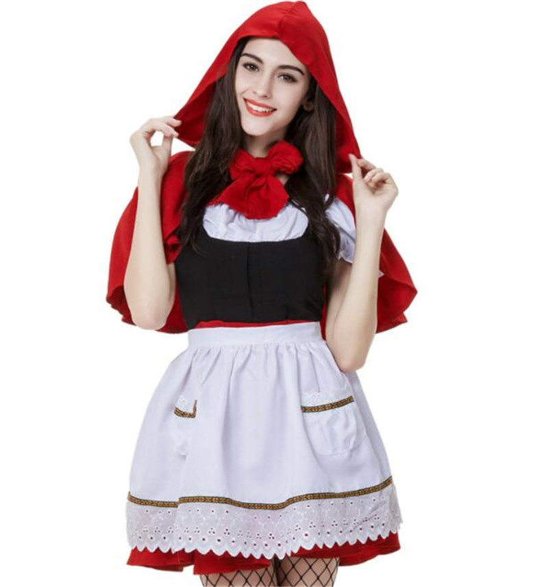 Adult Women Halloween Costume Little Red Riding Hooded Robe Lady Embroidery Dress Party Cloak Outfit with apron A028