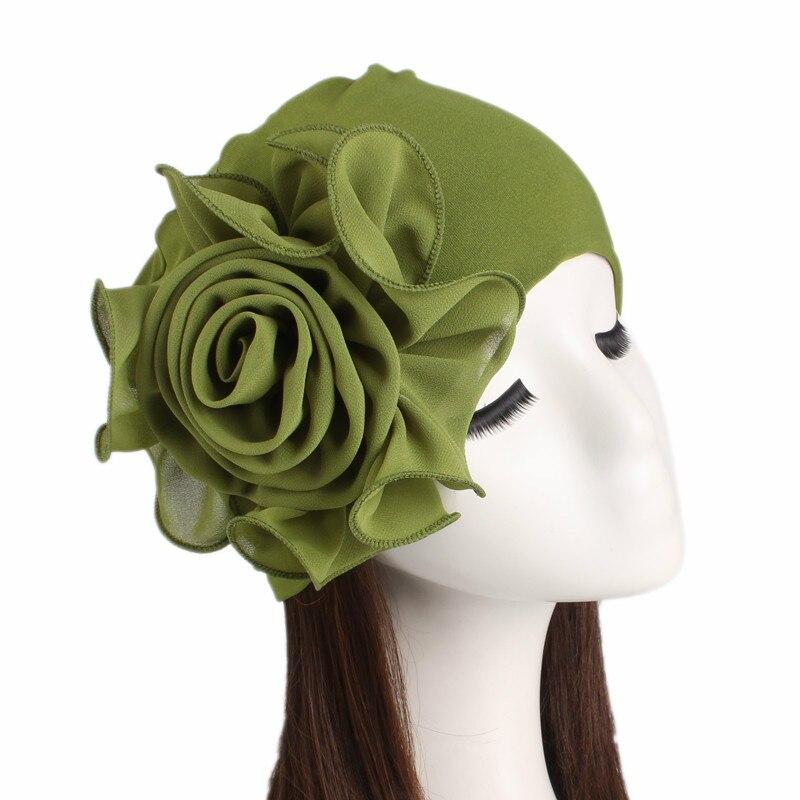 2018 New Woman Beautiful Flower Turban Elastic Cloth Head Cap Hat Muslim Women's Hijabs Ladies Hair Accessories Scarf Cap
