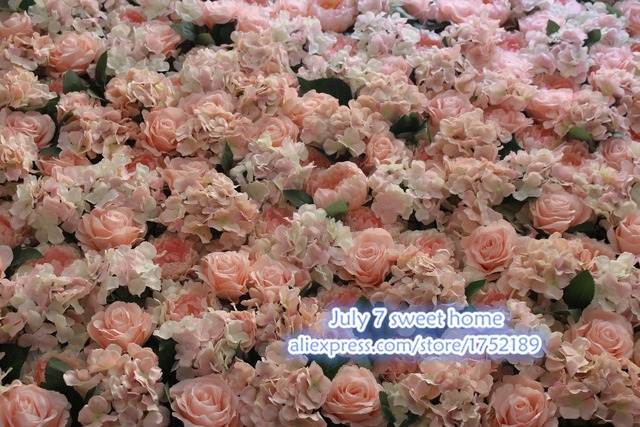New Artificial Silk Pink Hydrangea Roses And Peonies Flower Wall