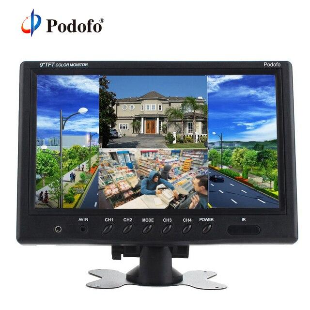 """Podofo 9 """"TFT LCD تقسيم الشاشة رباعية مراقبة CCTV الأمن مراقبة سيارة المخده شاشة الرؤية الخلفية 4 RCA موصلات 6 وضع"""