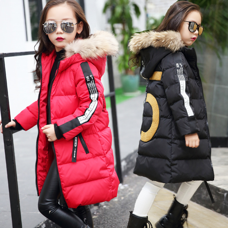 Girl cotton shirt warm winter jacket lady thick hooded jacket cotton pakana long fur collar coat children outdoor clothes 5-14Y5 2017 winter kid super large raccoon fur collar jacket girls pink hooded cotton jacket high quality kids thick warm coat 17n1120