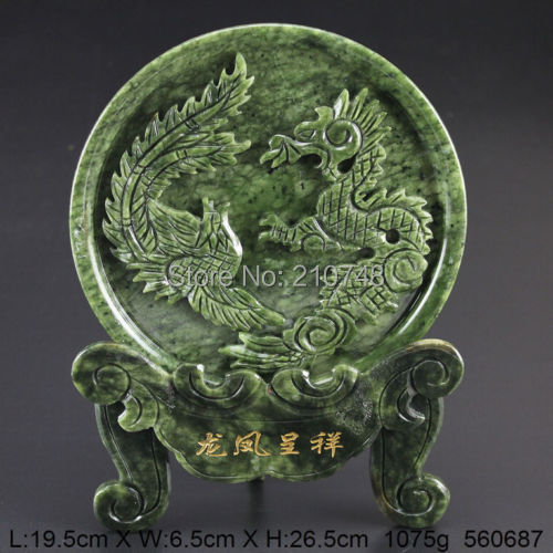 Chinese 100% Natural Jade Handwork Carved Dragon Phoenix Statue coins