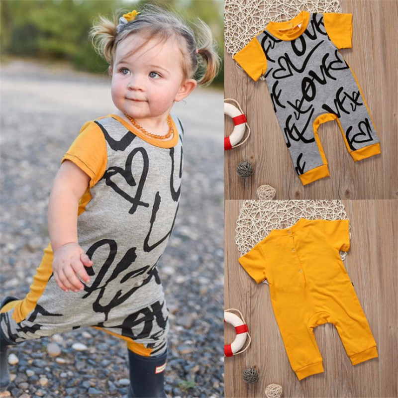 2018 Summer baby girl clothes climbing clothing Romper  suits color printing love haber cotton trousers romper newborn clothes