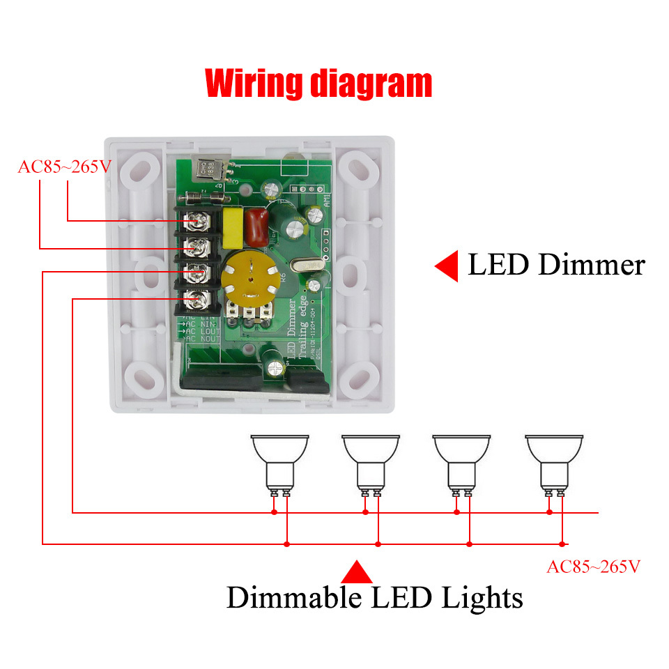 200w White Led Dimmer Durable Ir Knob Switch Remote Control Downlights Wiring Diagram Multiunits Dimmable Strip Downlight Panel Light Bulb In Dimmers From Lights