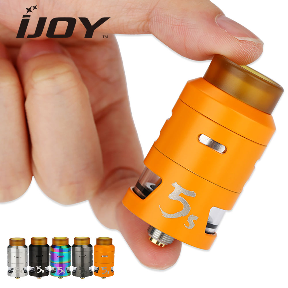 Clearance Original IJOY RDTA 5S Tank 24mm Diameter with 2.6ml Tank Capacity & Two Post Gold-plated Build Decks Top Fill Design original ijoy limitless rdta classic edition tank 6 9ml huge capacity atomizer with side fill