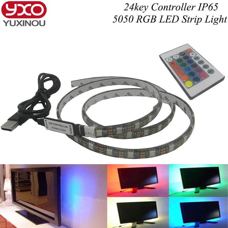 USB 5V LED Strip 5050 RGB TV Background Lighting 60LEDs m with 42Key RF Controller 50cm