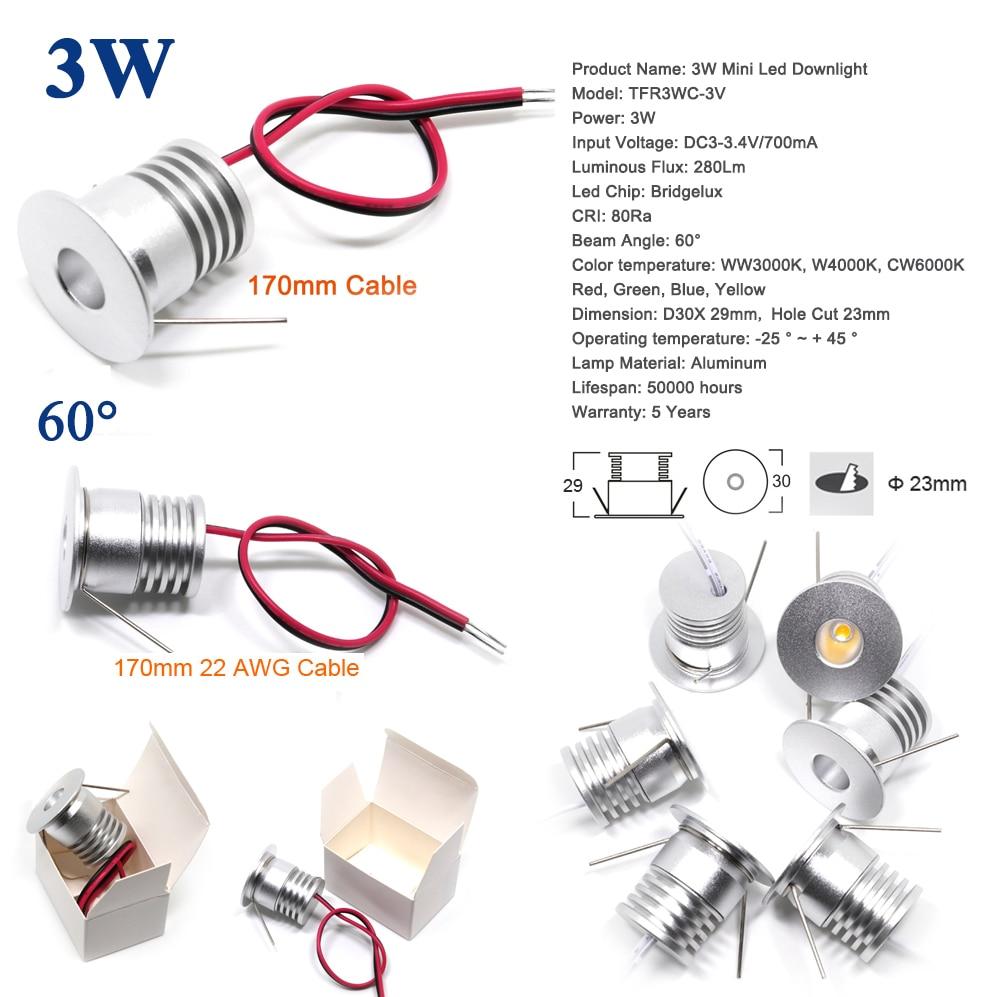 3W Mini Led Spotlight DC 3V 12V 24V AC100-240V 3Watts Ceiling Lighting For Kitchen Dining Furniture Light CE RoHS Spot Bulb Lamp