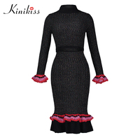 Kinikiss 2017 Winter Women Sweater Suits Elegant 2 Piece Set Slim Knit Pullover Pencil Skirts Suit