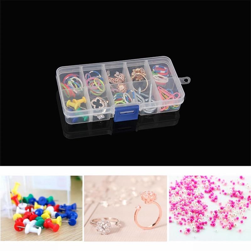 Case Earring 10-Lattice Organizer Jewelry-Container Storage-Box Rectangle Transparent