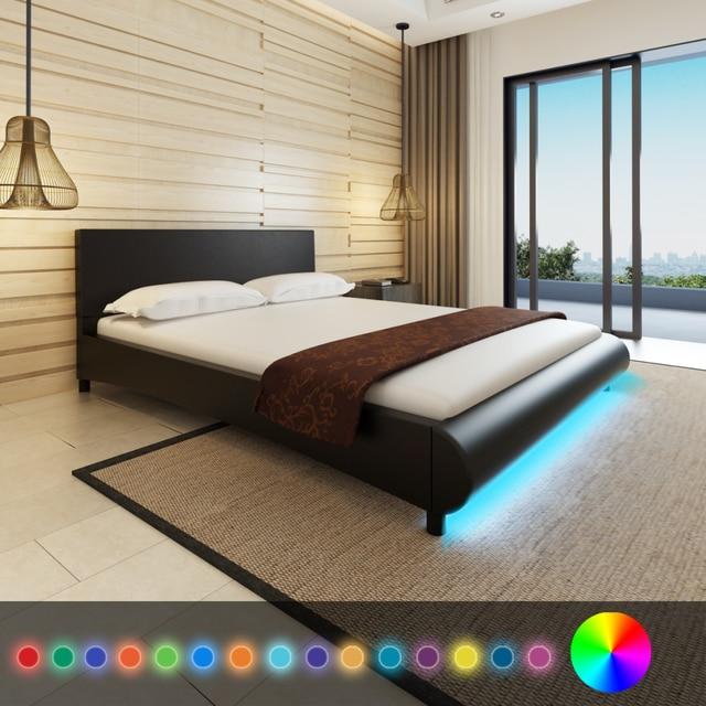 Genial IKayaa Design Moderne Lit En Cuir Artificiel Bois Mobilier De Chambre Avec  LED Meubles De Maison