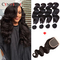 7A Peruvian Virgin Hair Body Wave With Closure 4 Bundles Rosa Peruvian Body Wave With Closure,8-28inch Human Hair With Closure
