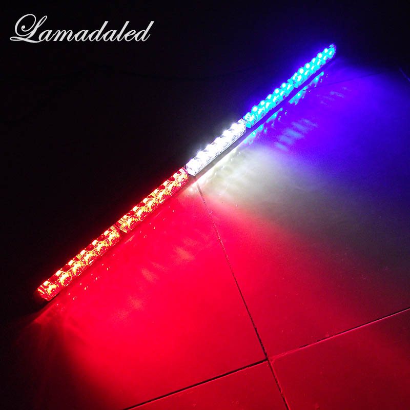 цена на 75CM 29inch Car Strobe Light bar 30 LED Flash lights Police warning Lights emergency strobe lights DC 12V red blue white amber