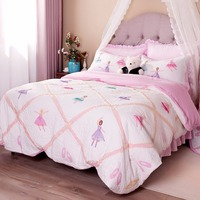 FADFAY Home Textile Pink Ballet Kids Comforter Set Cute Girls Princess Bedding Set Bed Quilt Set Twin Queen Size 3Pc Bedding Set