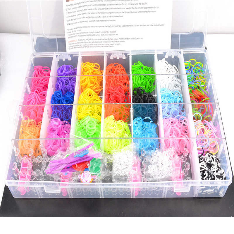 4400pcs Rubber Bands Loom DIY Weaving Box elastic bands for weaving bracelets Braid set Handicraft Bracelet Kit Kids Toy