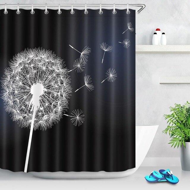 LB 180180 Flower Dandelion White On Black Shower Curtains Washable Bathroom Curtain Floral Fabric Polyester For Bathtub Decor