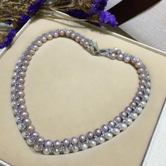 100% véritable collier de perles d'eau douce double chaîne de clavicule de perle naturelle 17 pouces