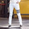 FanZhuan Frete Grátis moda homem dos homens casual masculino Magro calça jeans branca Tribunal retro denim 618102 calças calça casual Metrosexual