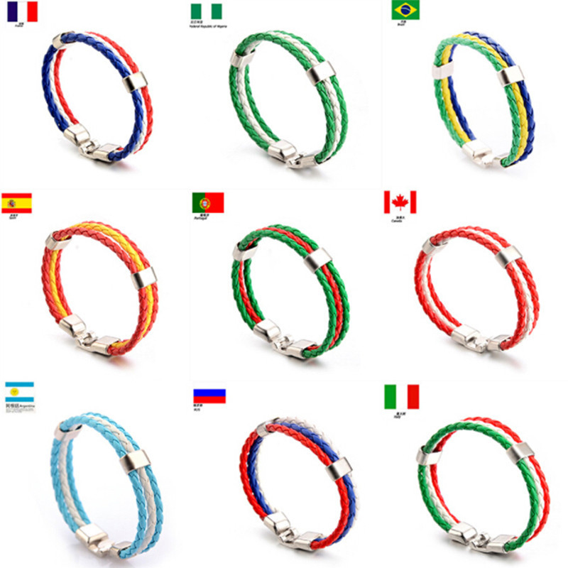Russia Spain Bracelet Couple France Brazil Bracelet Flag Spain Leather Team Bracelet Men's Football Fans Unisex Bracelet Jewelry