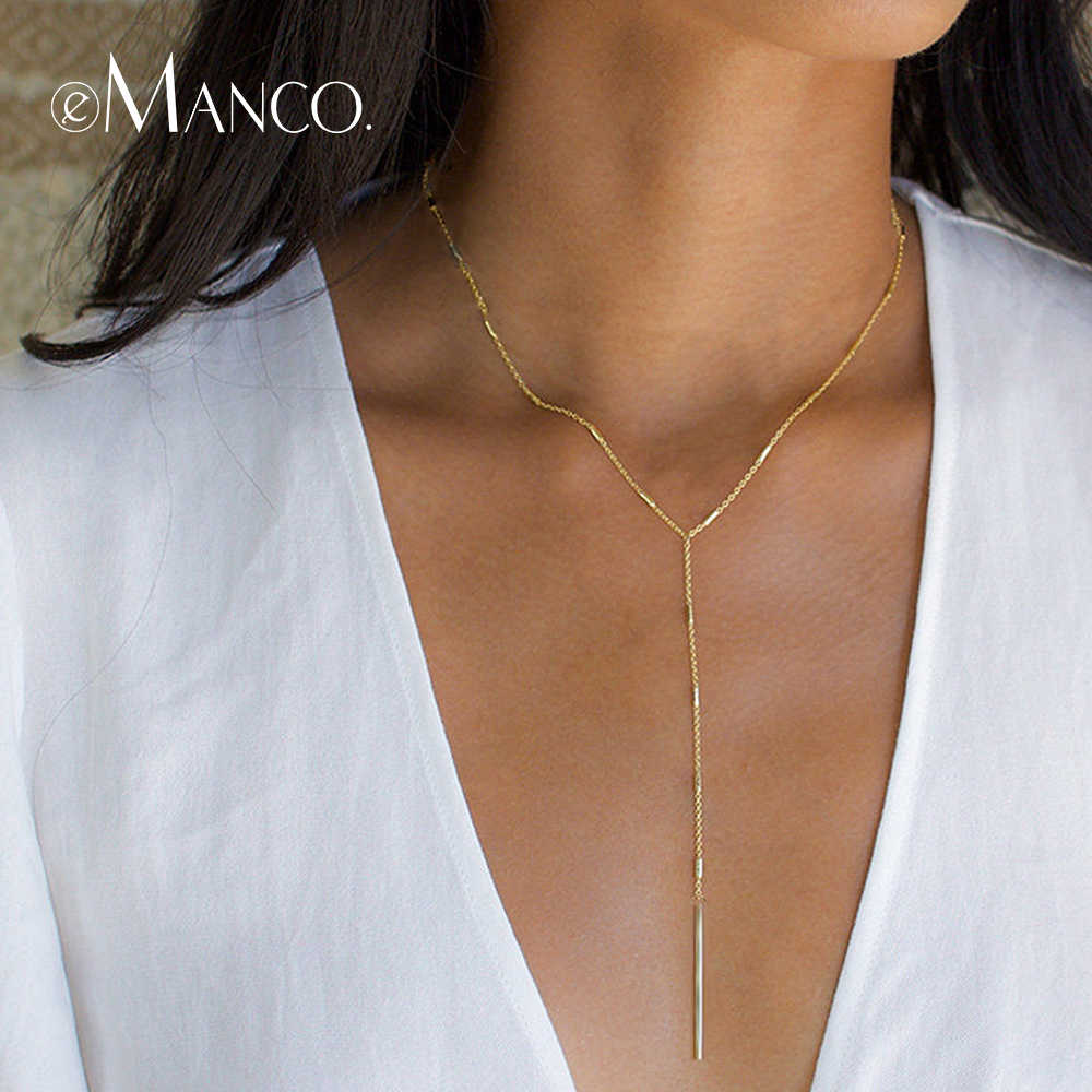 e-Manco Simple Stick Pendant Necklaces for Women Long Strip Choker Necklace collier Femme Statement Jewelry Gifts for Friendship