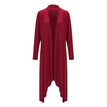 2017 Cardigan Fashion Women Casual Loose Front Open Hem Long Cardigan Jacket Coat Outwear Solid Blue/Red/Black Color