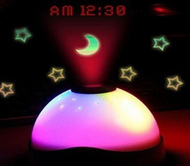 New 7 Colors LED Change Star Night Light Magic Projector Backlight Clock