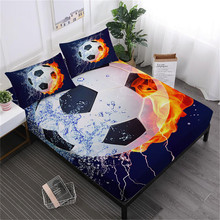 3D Fire Football Sheet Set Sports Design Bed Flat Blue Green Soccer Ball Fitted Deep Pocket Pillowcase D25