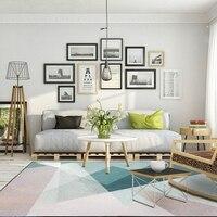 Nordic simples grande tapete sala de estar quarto área de cabeceira tapetes azul cinza rosa geométrico impresso decoração da casa anti-deslizamento tapete