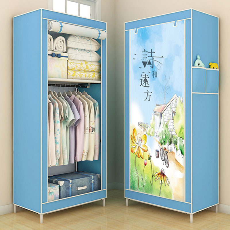 Small Size Single Cloth Wardrobe Simple Assembly Student Dormitory Fabric Wardrobe Reinforced Thicken Folding Storage CabinetSmall Size Single Cloth Wardrobe Simple Assembly Student Dormitory Fabric Wardrobe Reinforced Thicken Folding Storage Cabinet