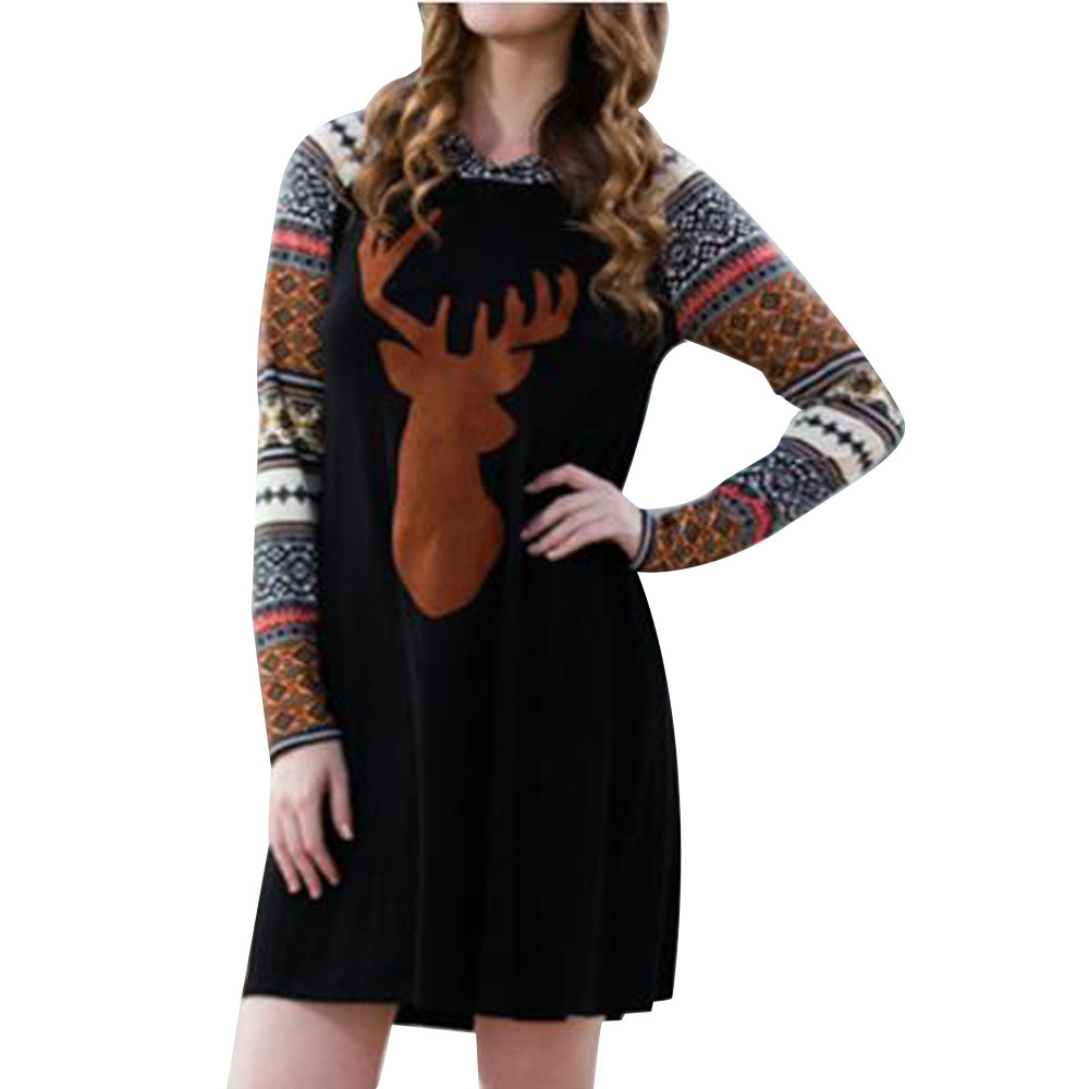 Christmas dress casual - Feitong Women Autumn Winter Dress Fashion Boho Casual Christmas Reindeer Printed Splicing Hooded Mini Vestidos Femininos