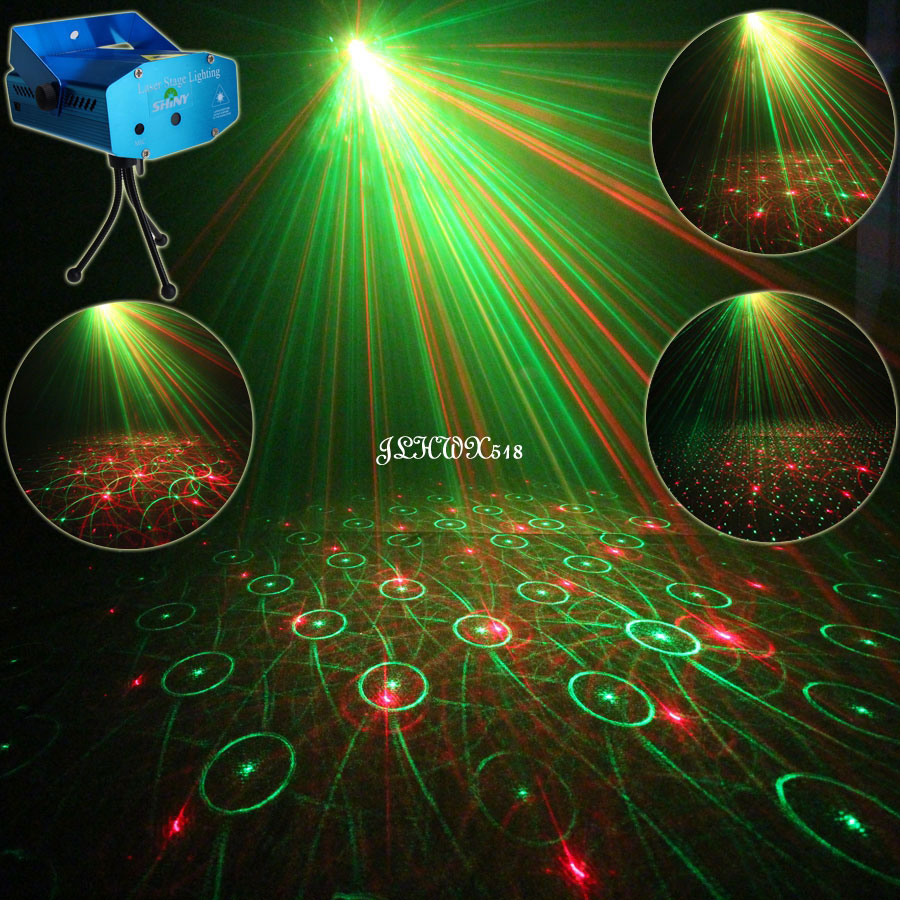 ESHINY Mini R&G 4 Laser Patterns projector Club Bar Dance Disco Home Coffee Party Xmas DJ Environment Stage Lighting Light N65Y4 laser stage lighting 48 patterns rg club light red green blue led dj home party professional projector disco dance floor lamp