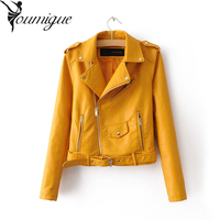 YOUMIGUE New Fashion Street Women S Short Washed PU Leather Jacket Zipper Bright Colors New Ladies