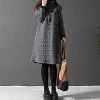 2017 Plus Size Autumn Winter Women Dress Turtleneck Casual Loose Knee Length Dresses Long Sleeve Vintage