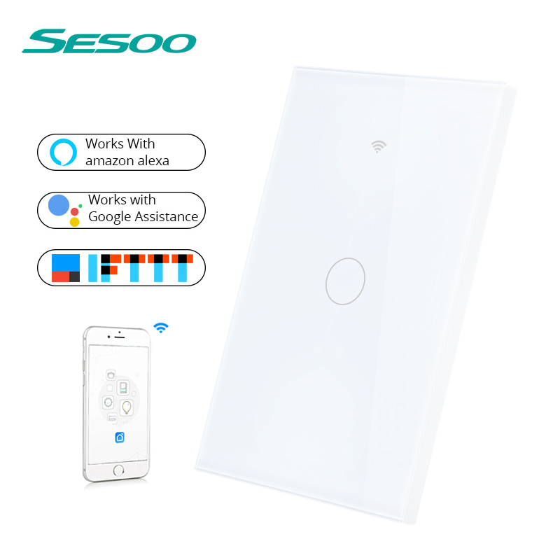 SESOO WIFI Smart Touch Switch APP Wireless Remote Light Wall Switch Crystal Glass Panel Works With Alexa / Google HomeSESOO WIFI Smart Touch Switch APP Wireless Remote Light Wall Switch Crystal Glass Panel Works With Alexa / Google Home