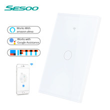 SESOO WIFI Smart Touch Switch APP remoto inalámbrico de luz interruptor de pared Panel de cristal funciona con Alexa/Google hogar(China)