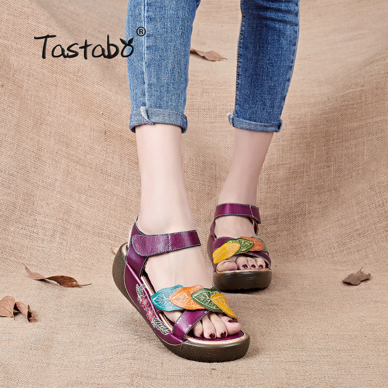 Tastabo Sandalias de Mujer 2017 de Verano de Cuero Genuino Gladiador Sandalias de Las Mujeres de Moda de Zapatos Planos Zapatos Casuales Sandalias Hechas A Mano femenina