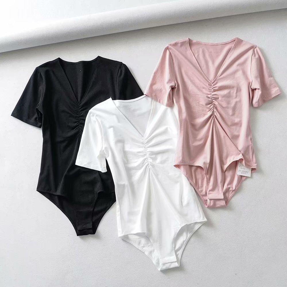 Bodysuit women Sexy Summer street bodysuits V-neck Cotton Bodycon jumpsuits for 2019 Beach Rompers womens